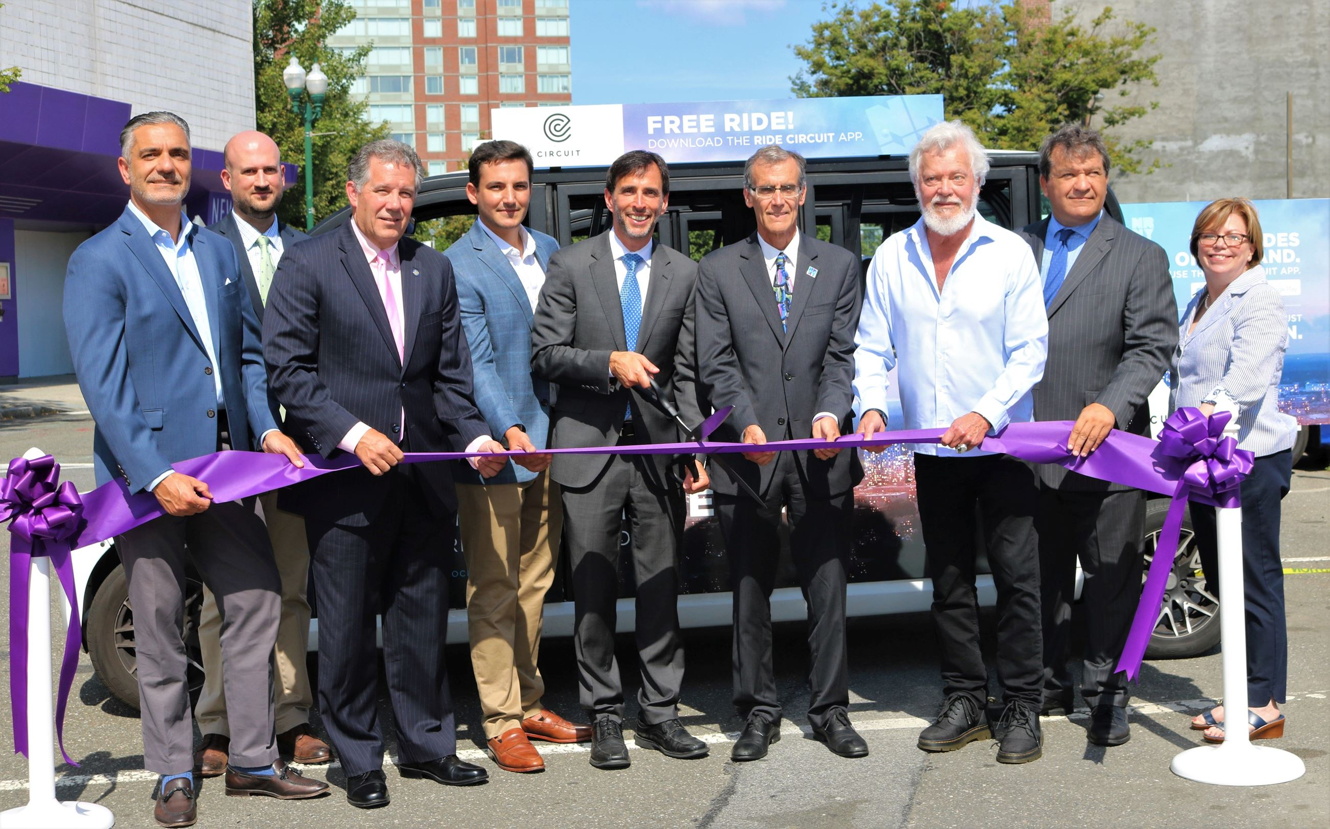 Ribbon Cutting for CircuitNR electric downtown shuttle