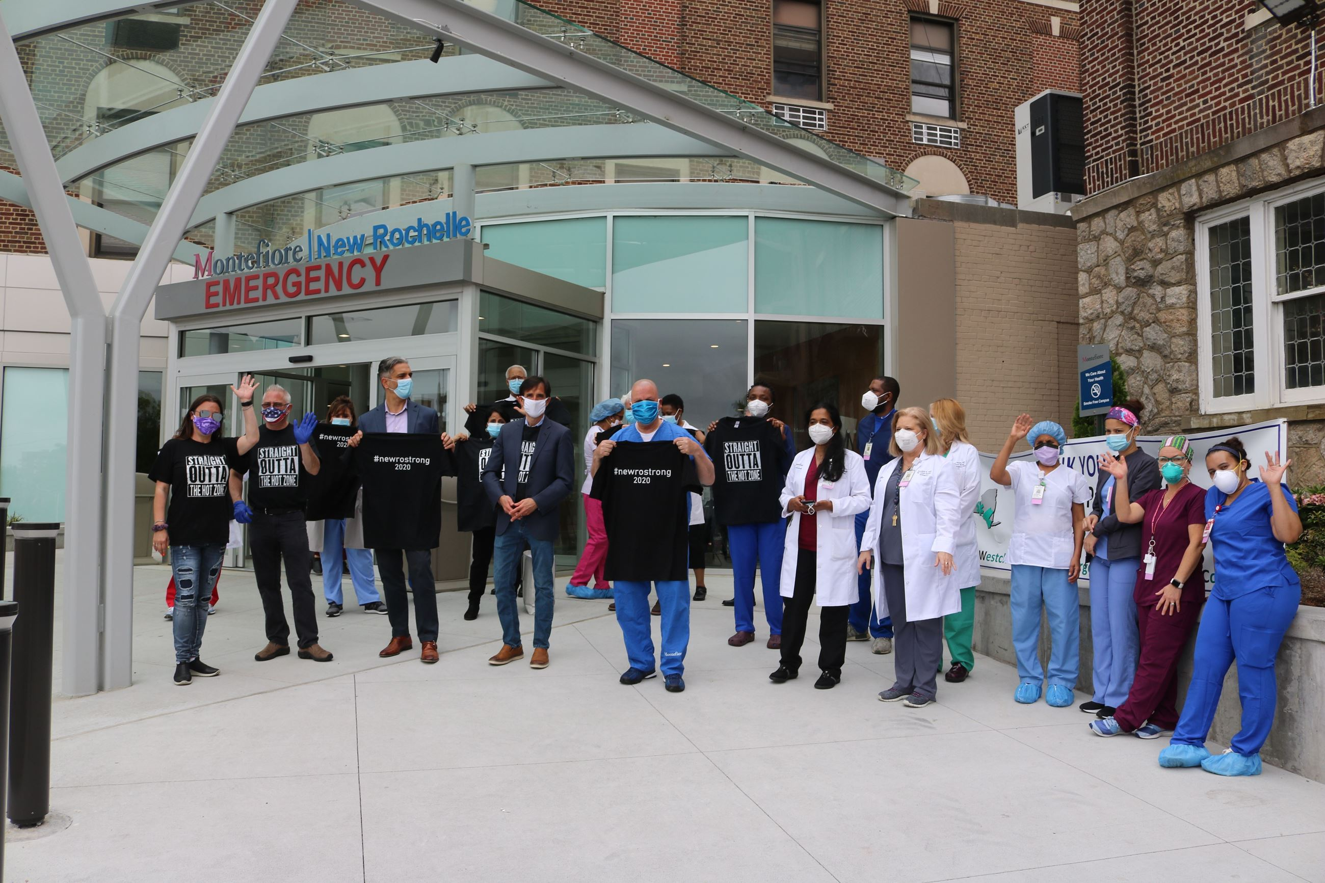 City and hospital staff show off New Ro Strong t-shirts