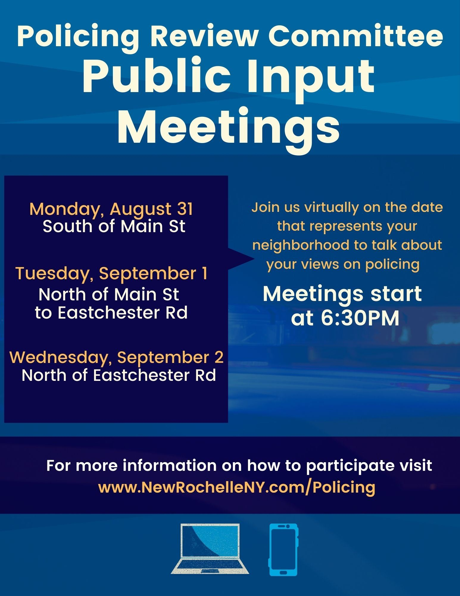 Flyer for Policing Review Committee Public Input Meetings